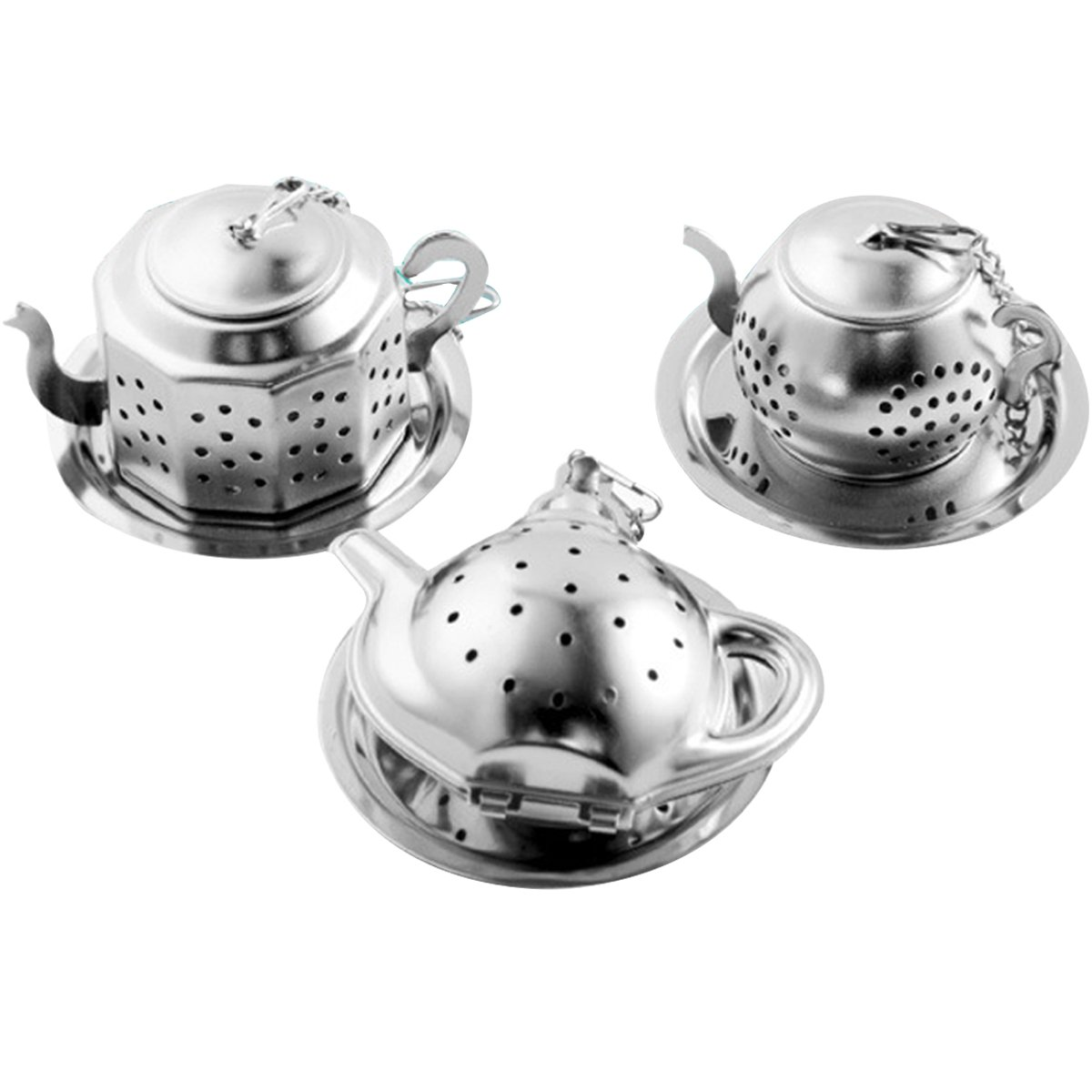 Sherry Tea Infuser Stainless Steel Loose Leaf Tea Strainer with Chain and Drip Trays Premium Tea Filter Mini TeaPot(Pack of 3)