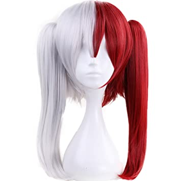 Amazon Com Anogol Hair Cap Silver Cosplay Wig Red Ombre Wigs