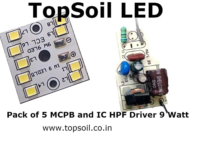 TopSoil LED Bulb Raw Material MCPCB and Driver Only (Cool Day Light) - Pack  of 5 MCPCB and 5 Driver