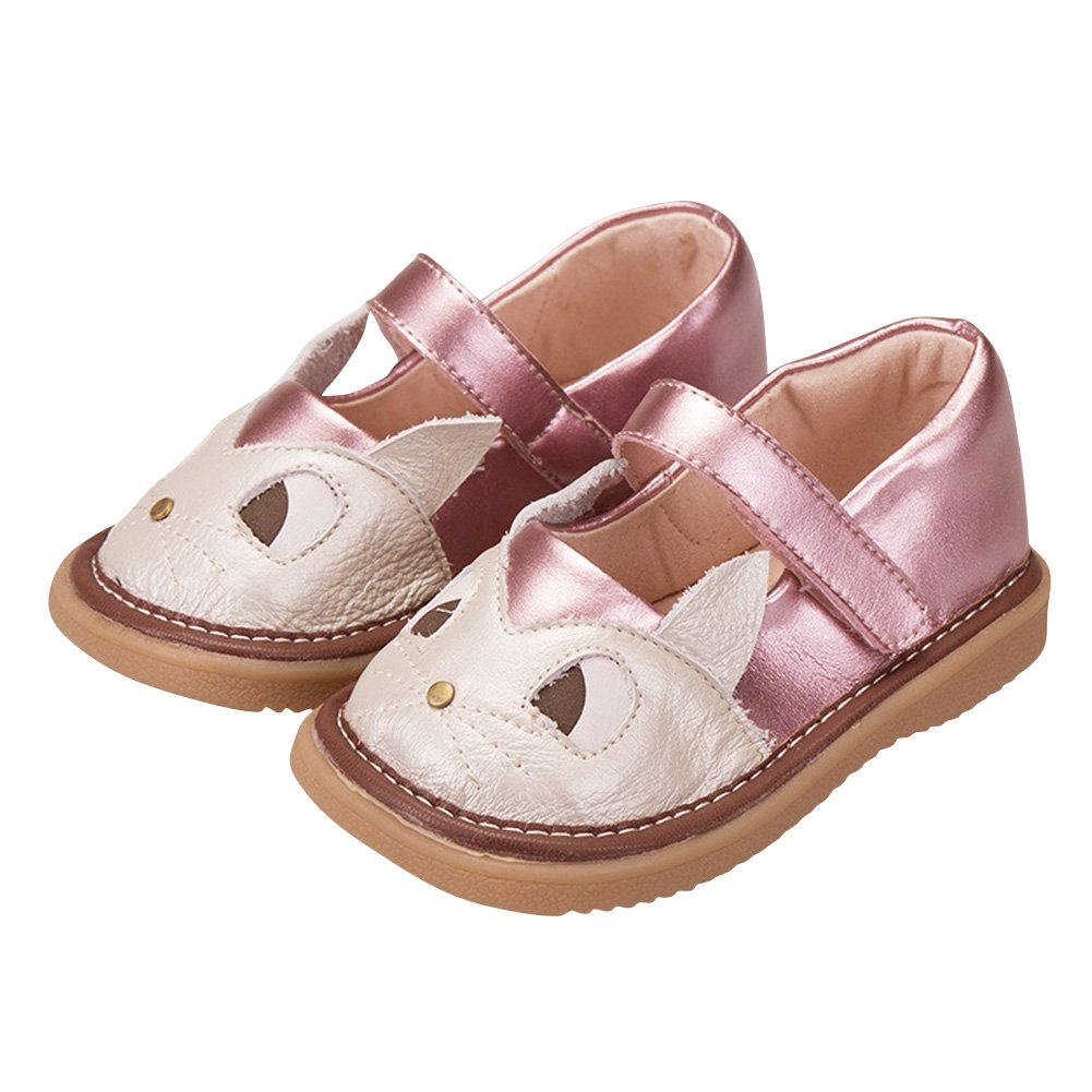 Tortor 1Bacha Baby Kid Girls Cat Ears Leather Flat Mary Jane Squeaky Shoes Toddler