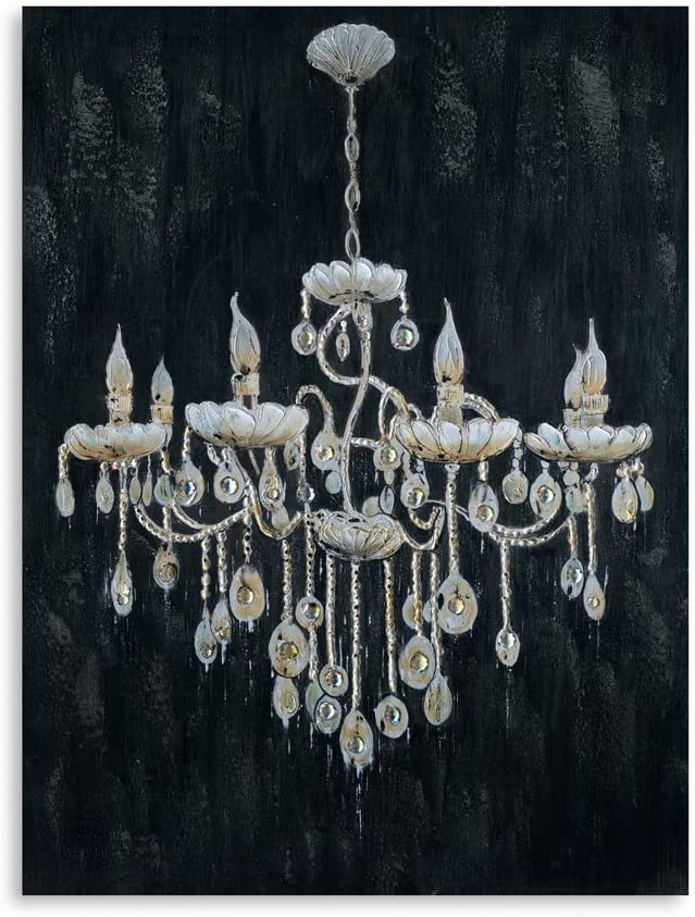 "B BLINGBLING 24""x32"" Large Golded Vintage Chandelier Lamp on Black Background Canvas Print Wall Art Decor for Home Living Room Kitchen Bathroom Framed and Ready to Hang"
