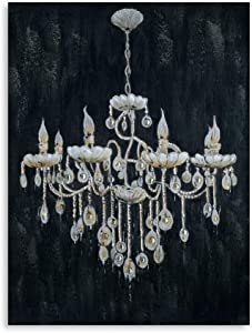 """B BLINGBLING 24""""x32"""" Large Golded Vintage Chandelier Lamp on Black Background Canvas Print Wall Art Decor for Home Living Room Kitchen Bathroom Framed and Ready to Hang"""