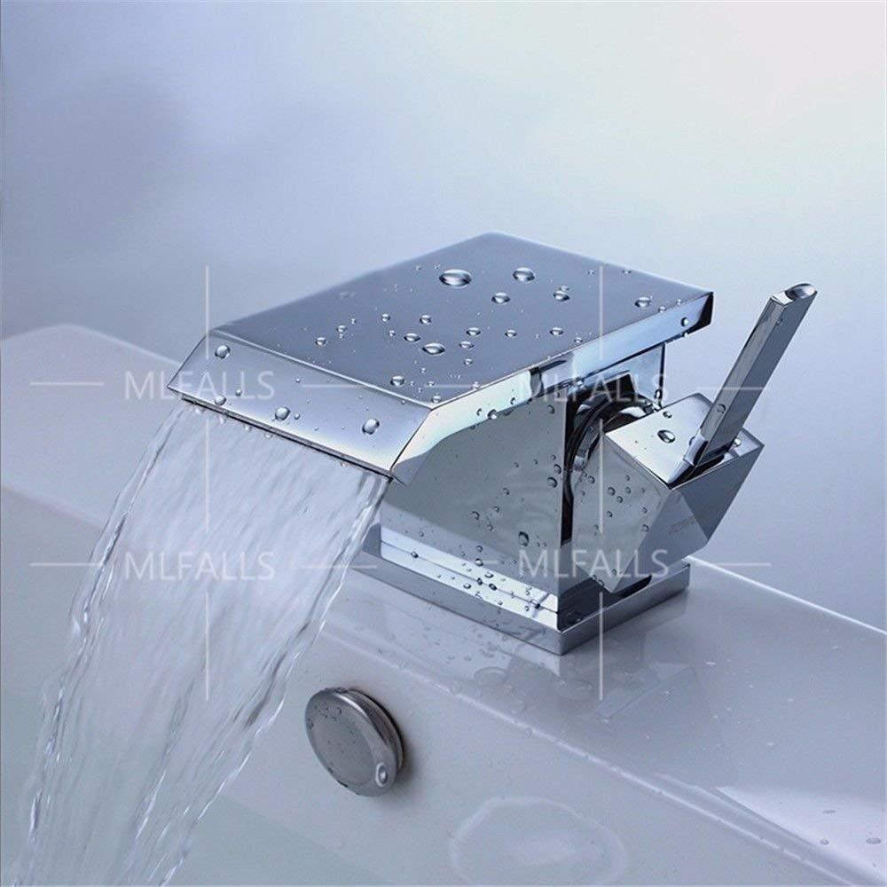 JingJingnet 流域ミキサータップ浴室のシンクの蛇口スタイリッシュでモダンなデザインスタイルクロームメッキ真鍮シングルハンドルワンホールセラミックバルブは、流域の口から落ちる、 (Color : A) B07S3SQDJG A