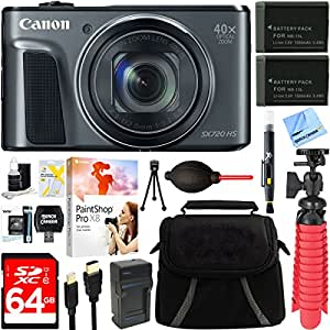 Canon PowerShot SX720 HS 20.3MP 40x Optical Zoom HD 1080p CMOS Digital Camera (Black) + Two-Pack NB-13L Spare Batteries + Accessory Bundle