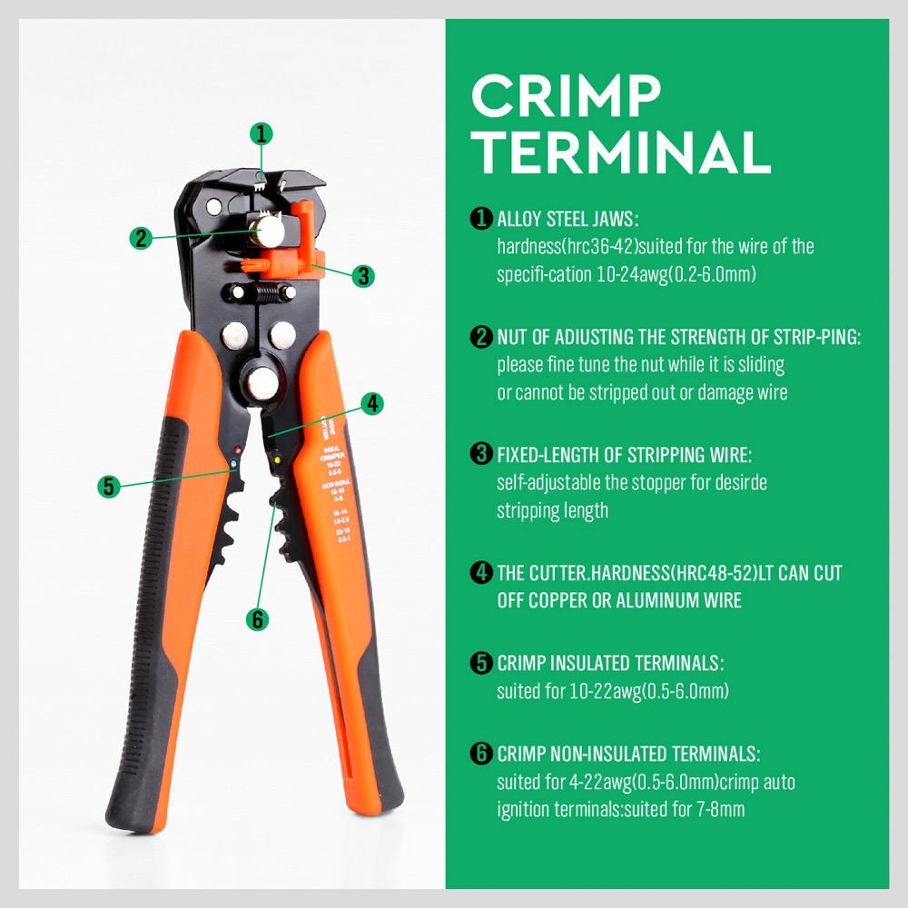 Horusdy Wire Stripping Tool Self Adjusting 8 Automatic Copper Or Aluminum Wiring Stripper Cutting Pliers For Crimping 10 24 Awg 0260mm