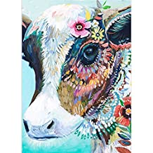 DIY 5D Diamond Painting by Number Kits, Full Drill Crystal Rhinestone Embroidery Pictures Arts Craft for Home Wall Decor Gift (Cattle, 11.8x15.7inch)