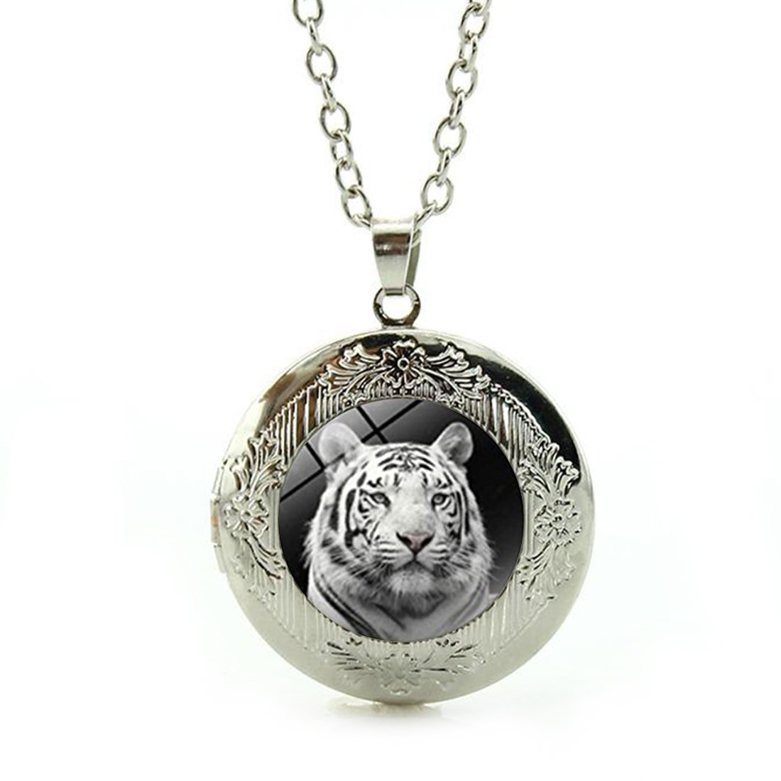 Custom Photo Glass Cabochon Pendant Necklace White Tiger Sterling Silver Plating Chain Circle Bead Choker Healing Amulet for Friends Gift