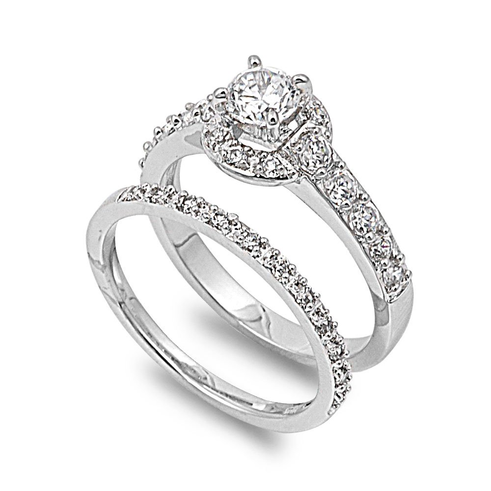 CloseoutWarehouse Round Center with Round Stones Cubic Zirconia Wedding Set Ring Sterling Silver Size 10