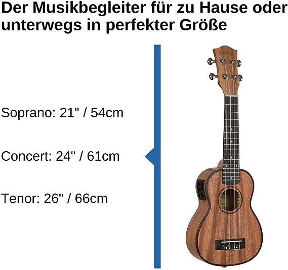 CASCHA - Ukelele soprano (caoba, guitarra hawaiana pequeña, para ...