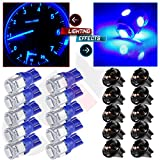CCIYU (10)T10 5-5050-SMD PC194 Blue LED Bulb Instrument Panel Cluster Dash Light Twist Lock Socket