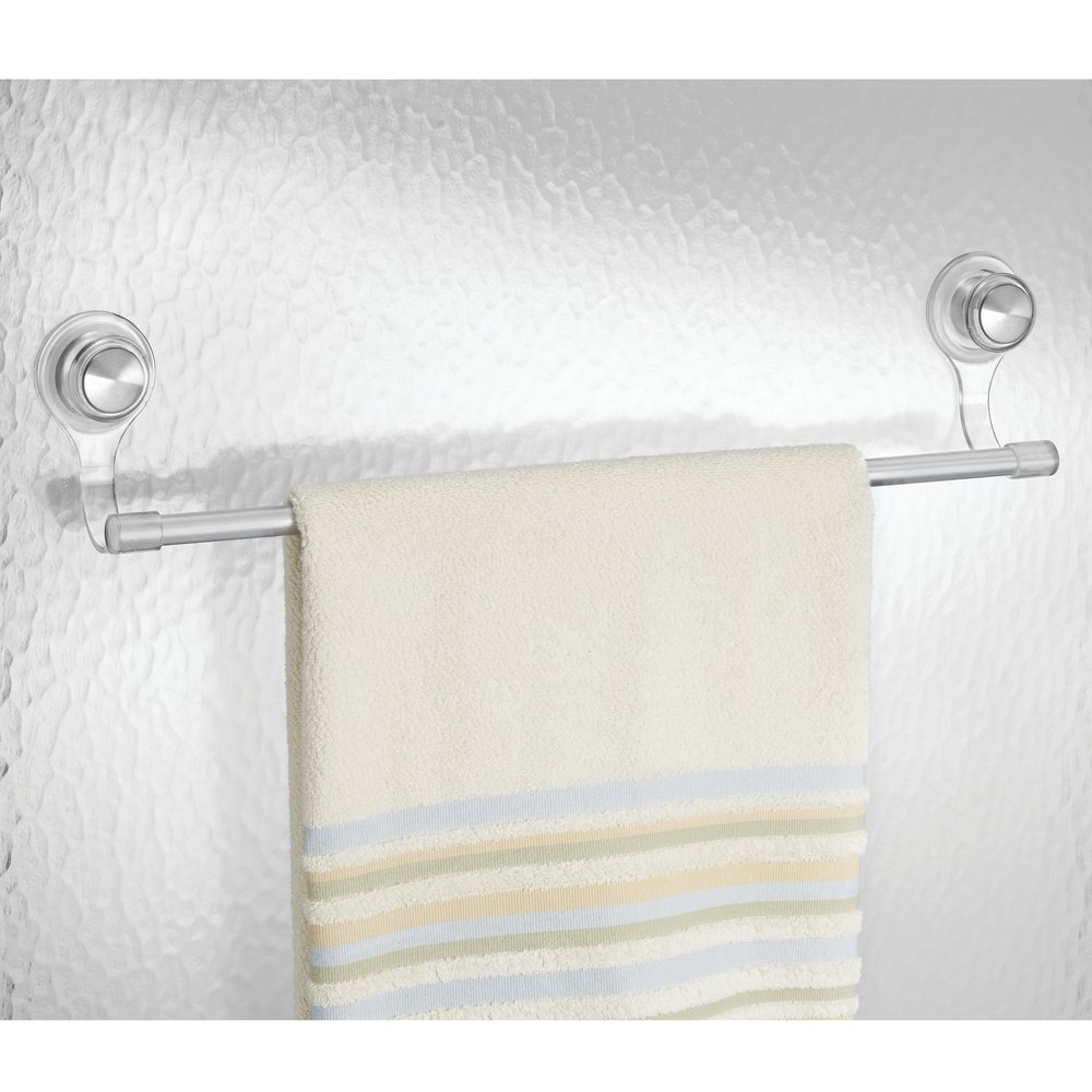 Amazon.com: MDesign Suction Washcloth Bar For Bathroom Shower    Clear/Brushed Stainless Steel: Home U0026 Kitchen