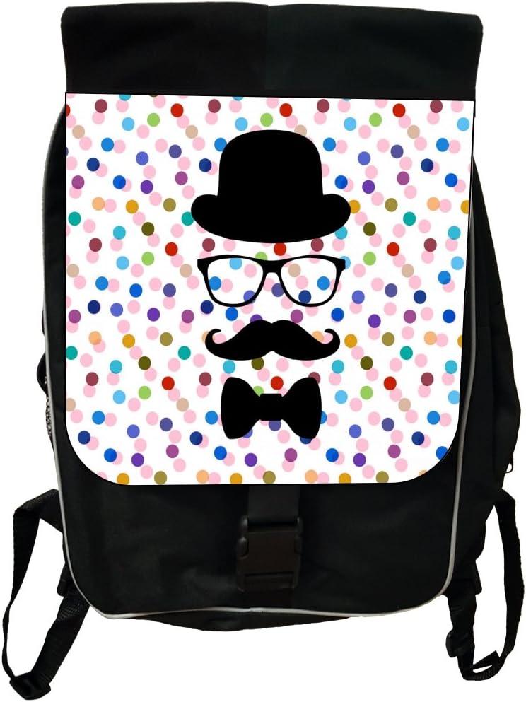 Hipster Elements on Polka Dots Black School Backpack /& Pencil Bag