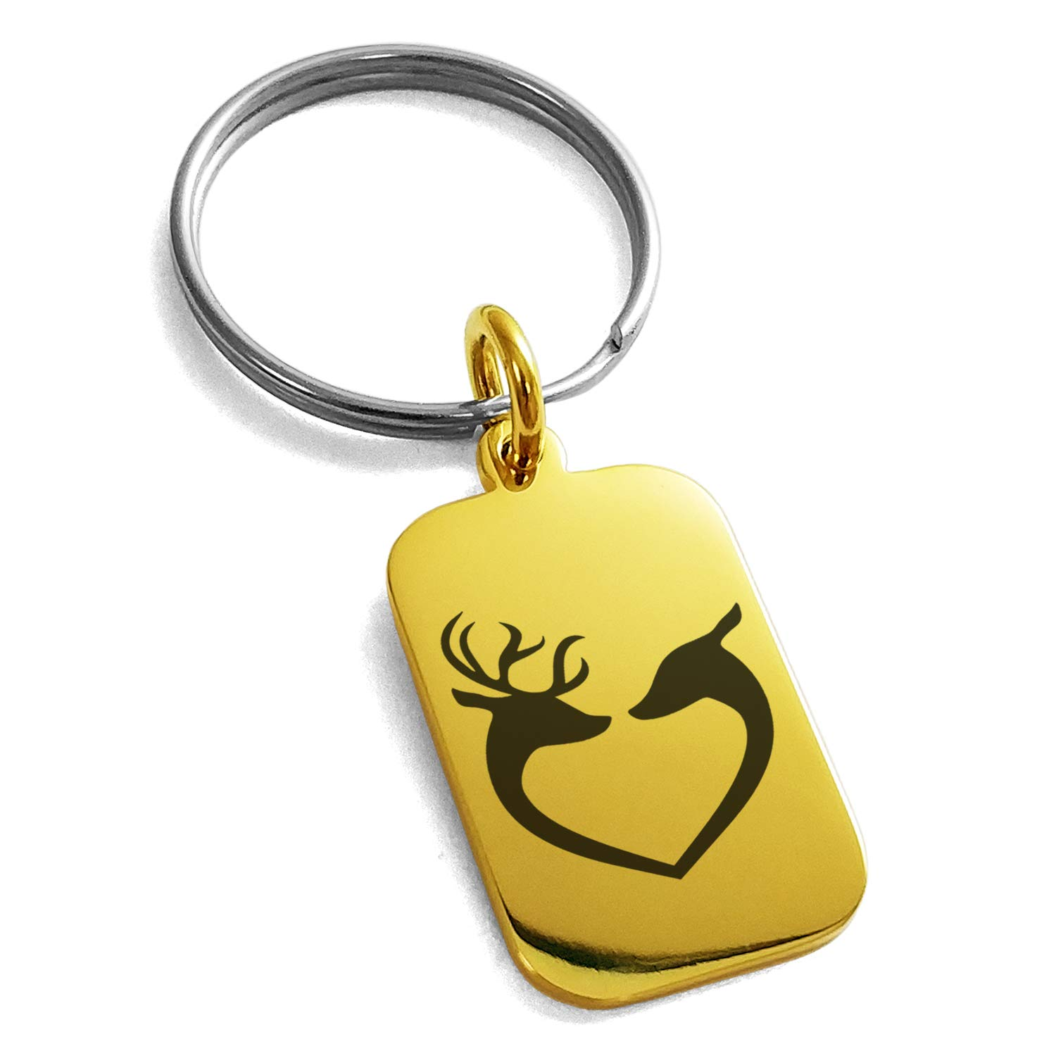 Rose Gold Stainless Steel Reindeer Heart Love Engraved Small Rectangle Dog Tag Charm Keychain Keyring