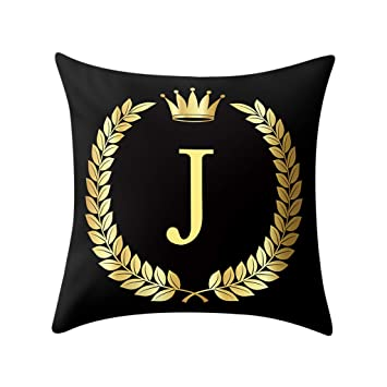 Amazon.com: Lywey 2019 Fashion Pillow Cover Black and Gold ...