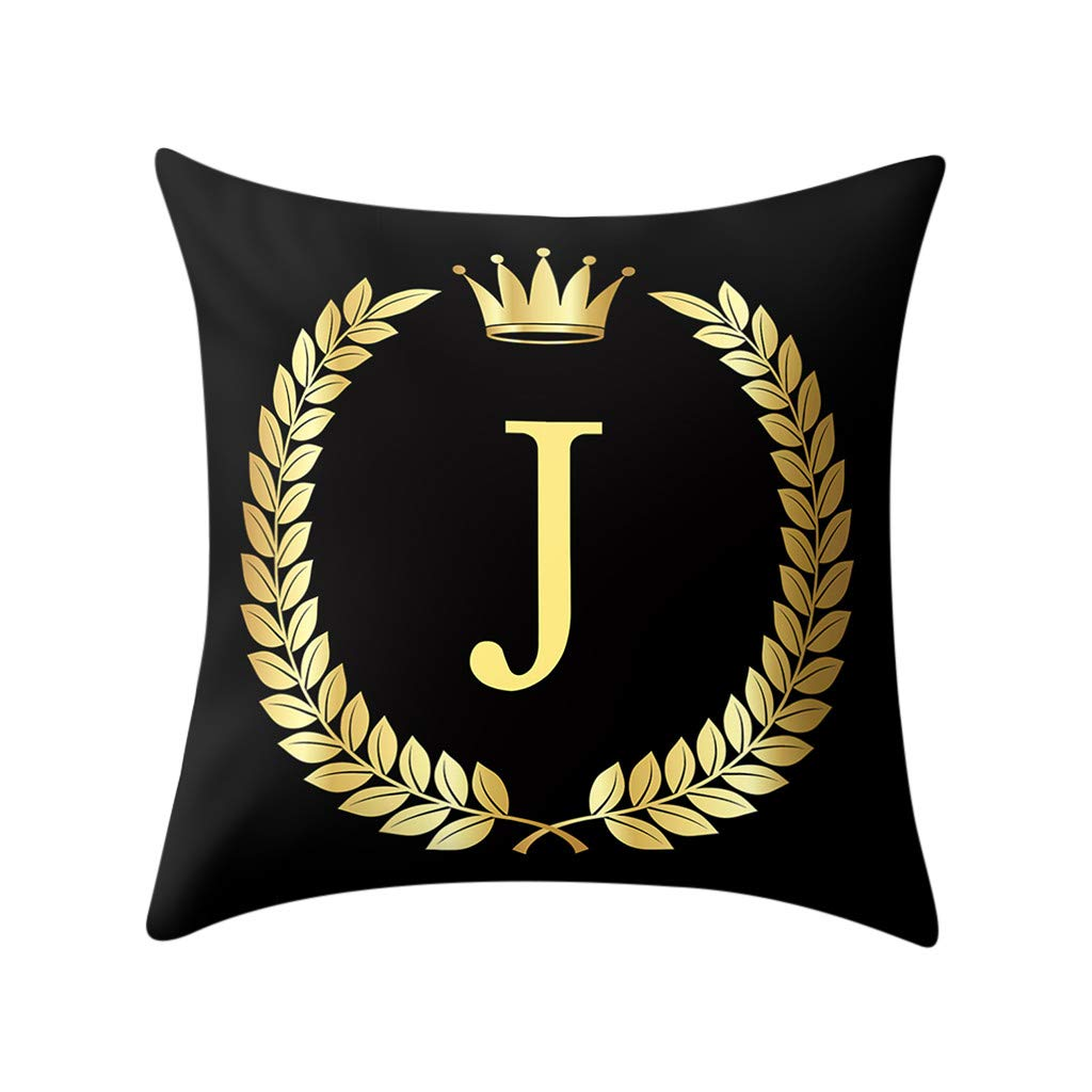 Letter Pillow Case Covers Bronzing Throw Pillow Case 18x18'' English Alphabets Cushion Cover Modern Square Pillowcase for Home Sofa Couch Decor (J)