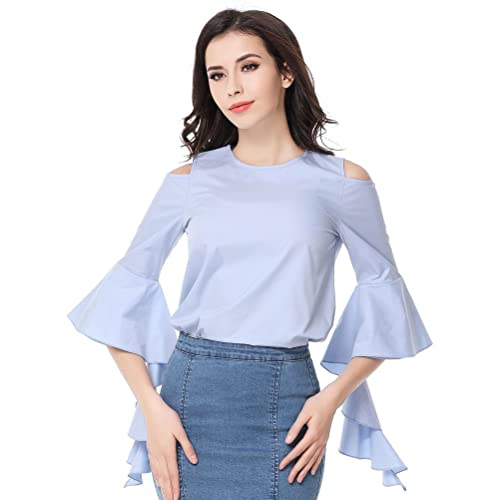 Glorria Women Elegant O-Neck Half Sleeve Ruffles Blouses Summer Casual Fashion Blue Shirts