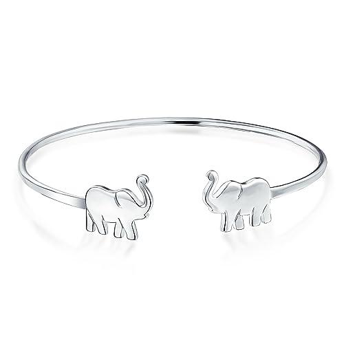 Buena Suerte Delgada Minimalista Elephant Brazalete Pulsera De Puño Para La Mujer Adolescente 925 Plata De Ley 925