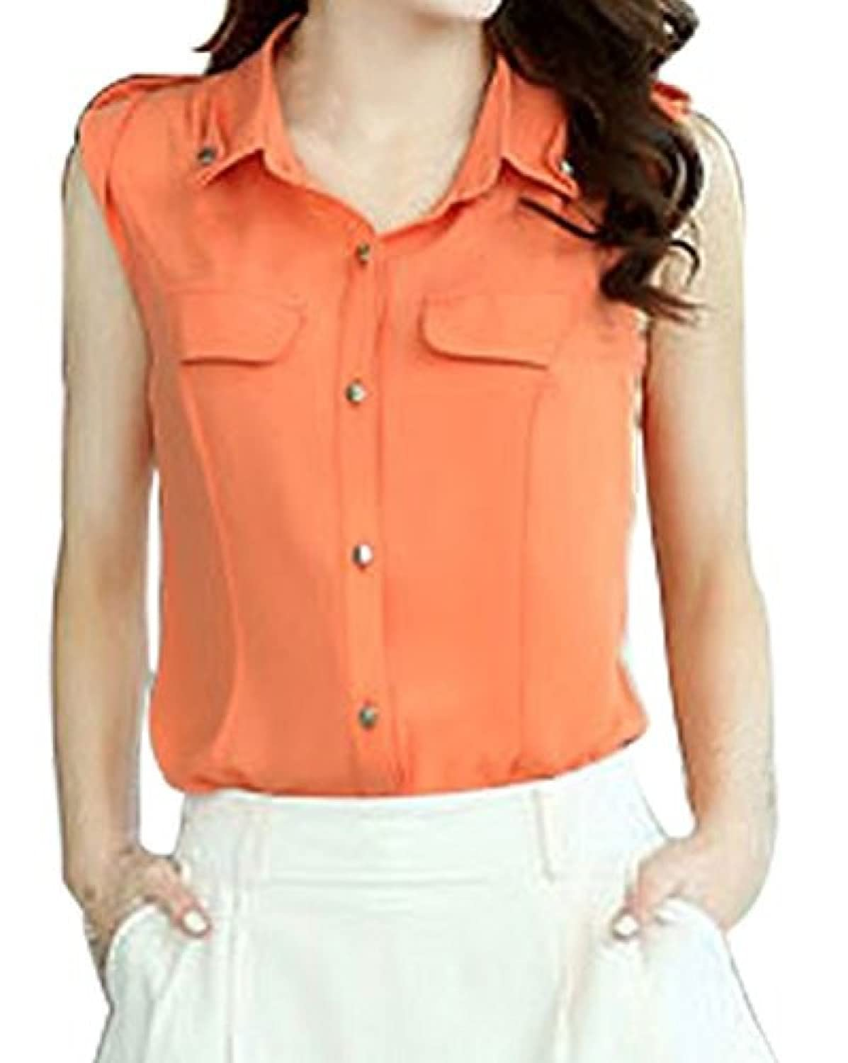 FACE N FACE Women's Chiffon Solid Color Summer Loose Shirts Blouses