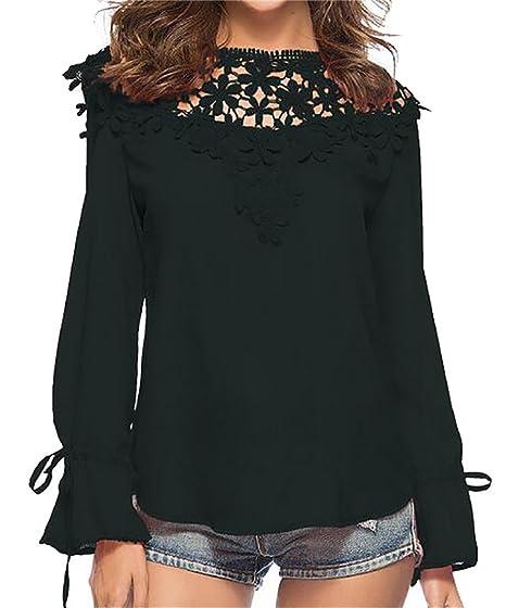0424e6a49d6 JXG-Women Lace Tops Long Sleeve Crochet Splice Sexy T-Shirt Blouse at  Amazon Women s Clothing store