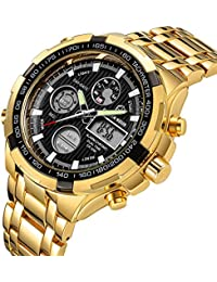 Luxury Full Steel Analog Digital Watches Men Led Male Outdoor Sport Military Wristwatch Gold Black