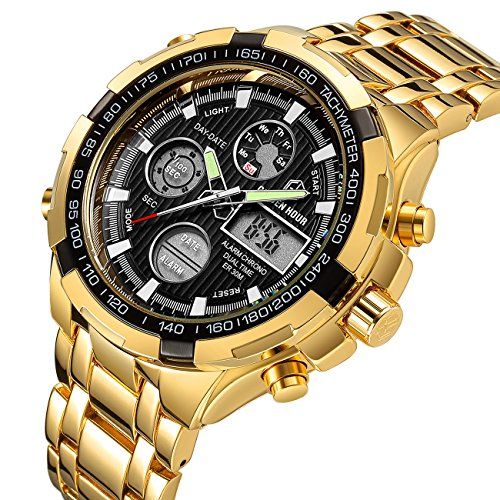 Tamlee Luxury Full Steel Analog Digital Watches Men Led Male Outdoor Sport Military Wristwatch Gold Black
