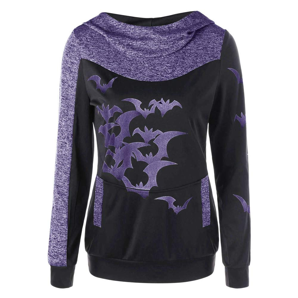 Inverlee Women Halloween Party Bats Print Long Sleeve Hooded Tops Pullover Sweatshirt