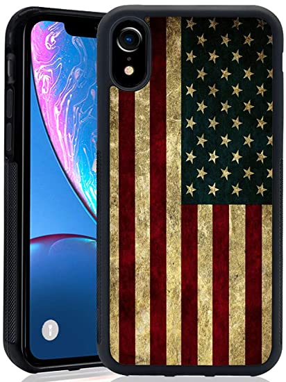 b63ca9fcde Case with American Flag Pattern for iPhone XR(2018) himsical Design Bumper  Black Soft