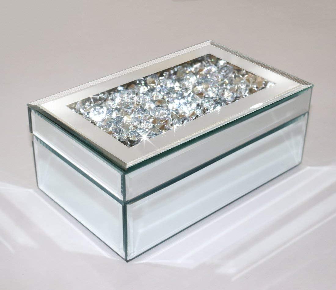 Qmdecor Luxury Silver Crushed Diamond Glass Mirrored Jewelry Box Organizer Storage Jewelry Box For Women