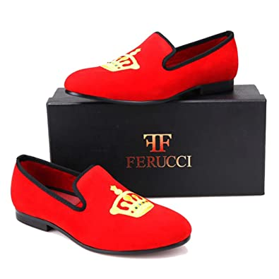 fdbd6770691cf Amazon.com | FERUCCI Handmade Red Men Velvet Slippers Loafers with ...