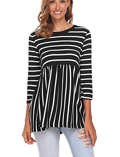 0f127201710 Halife Women Cotton 3 4 Sleeve Shirts Pleated Hem Wave Striped Tunic Tops  Black S