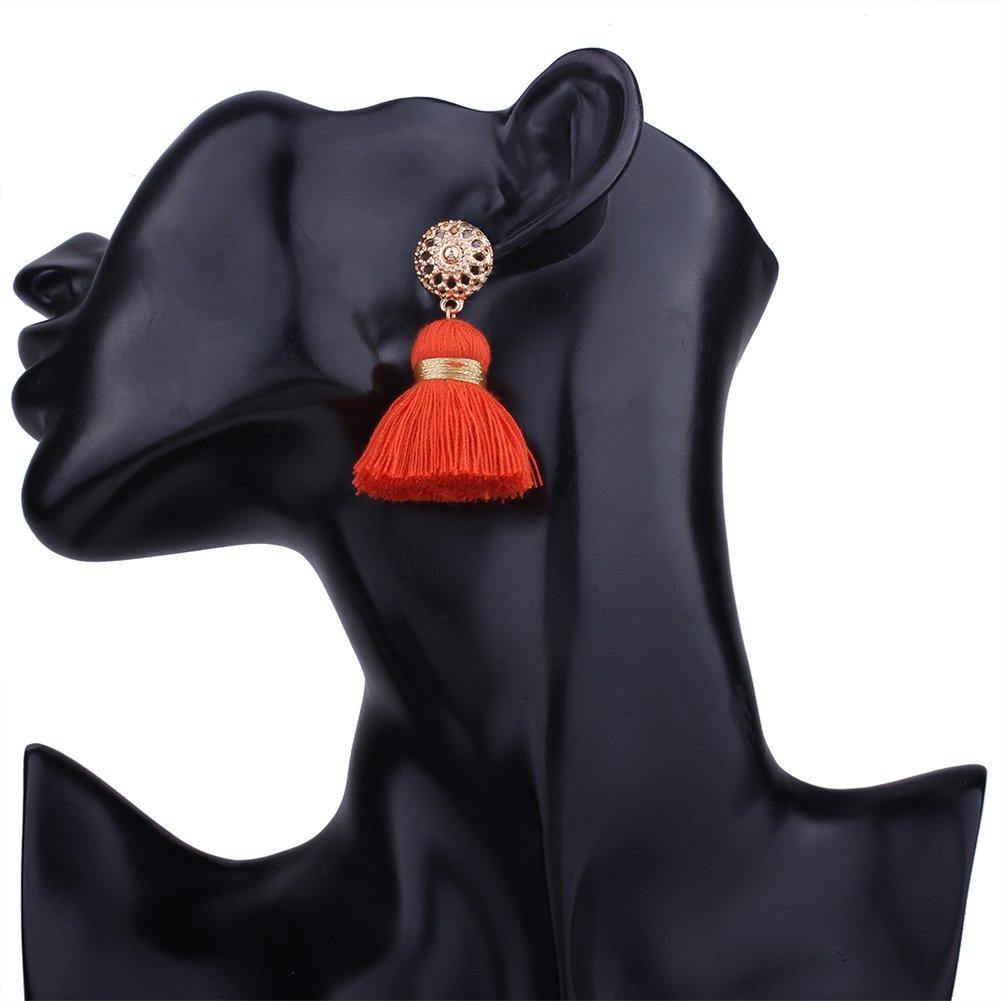 Aibelly Bohemian Retro Ethnic Short Tassel Statement Chandelier Dangle Drop Earrings New Fashion Handmade Thread Stud Earrings for Woman Girls by Aibelly (Image #3)