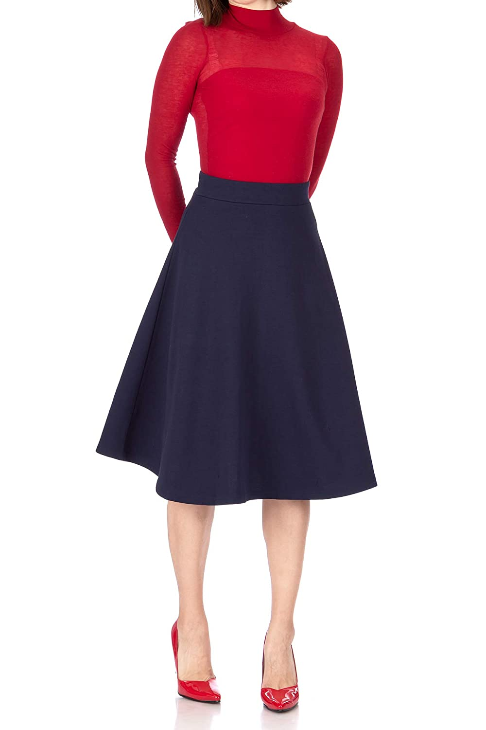 Agent Peggy Carter Costume, Dress, Hats Danis Choice Everyday High Waist A-line Flared Skater Midi Skirt $19.95 AT vintagedancer.com