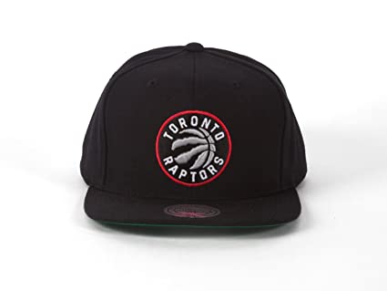 6a8506086b0 Image Unavailable. Image not available for. Color  Mitchell and Ness  Toronto Raptors Black Current Logo Snapback Hat Cap