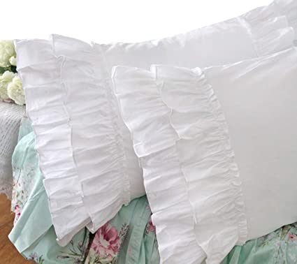 Amazoncom Queens House Vintage Ruffle Pillow Shams White