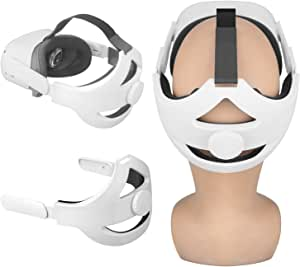 Esimen Adjustable Head Elite Strap for Oculus Quest 2 Headband with Cushion Pad Strap, Design Balance Weight, Reduce Pressure (White)