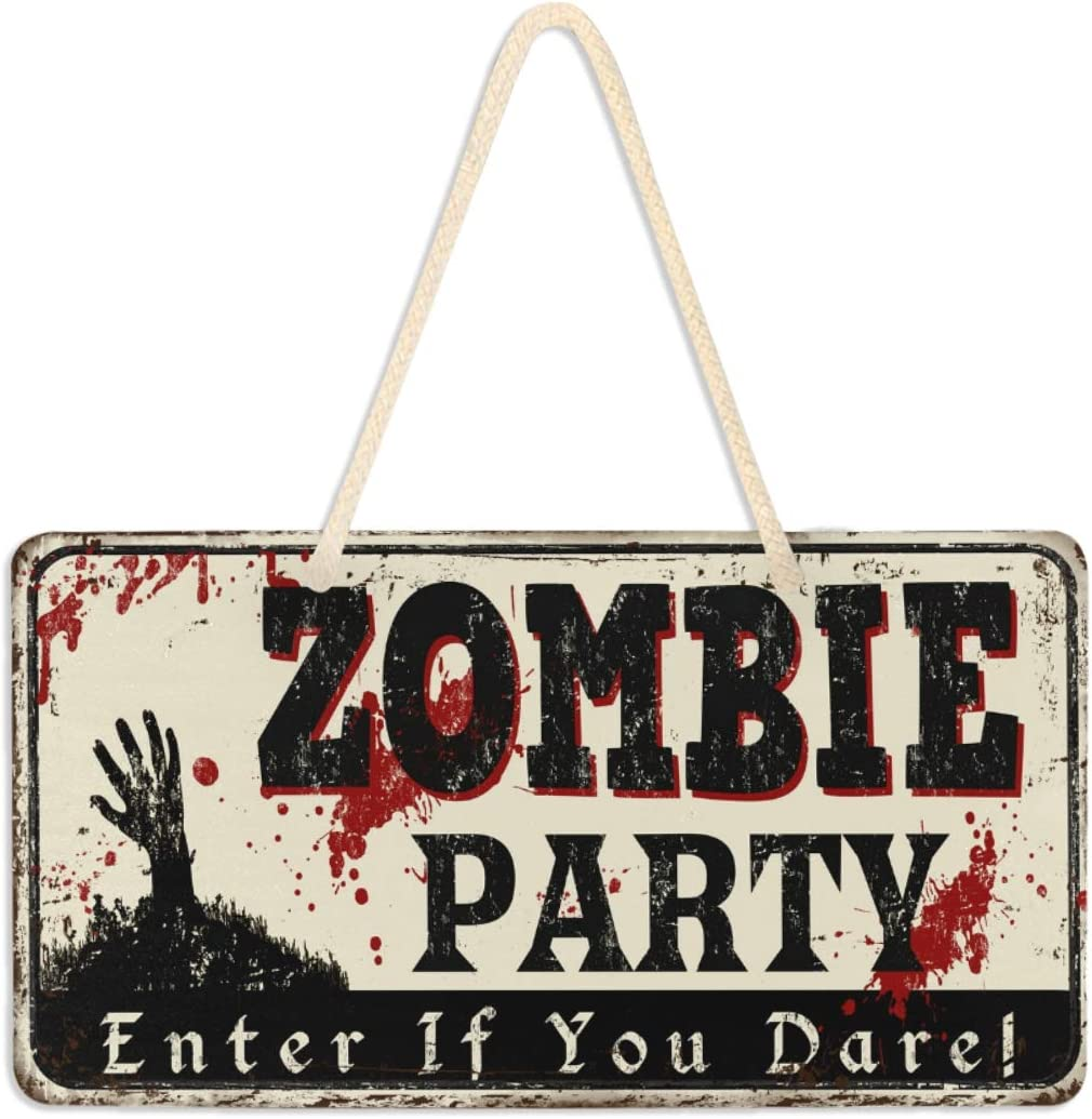 "Exnundod Zombie Party Wall Hanging Pediment Door Sign Vintage Rusty Plaque Porch Decor Light Weight 6""x11"" for Home Yard Office Shop Cafe Restaurant"