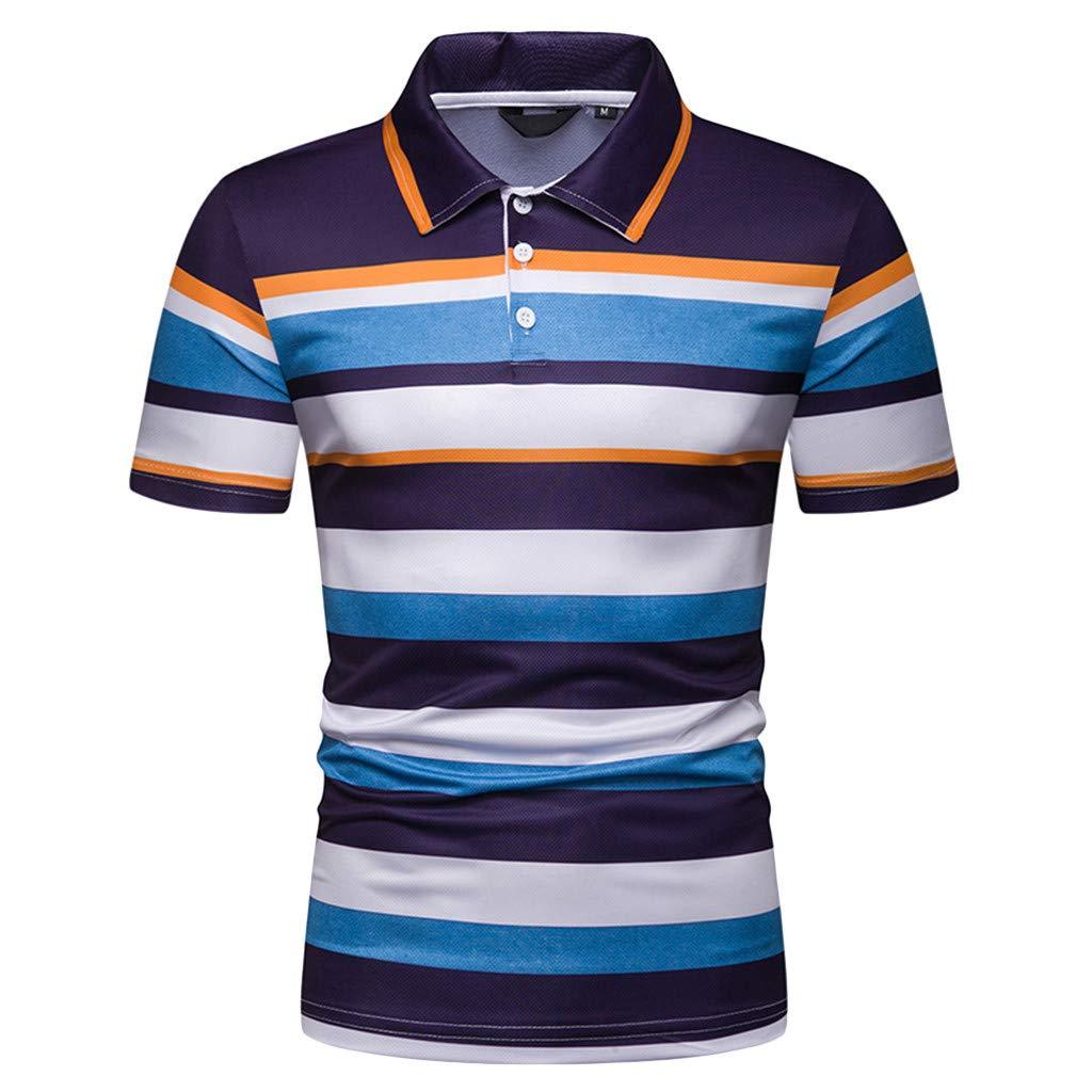 Sagton Mens Big /& Tall Classic Fit Stripe Polo T-Shirt