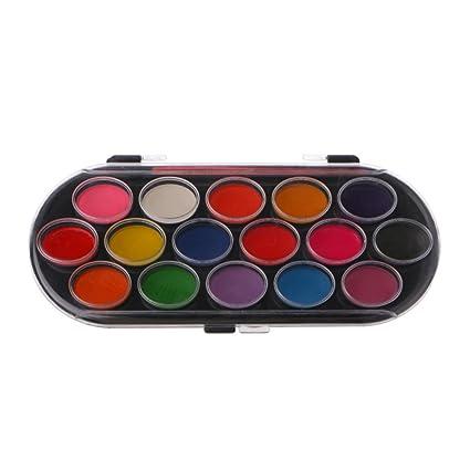 Longsw 16pcs Aquarelle Palette Pinceau Set Peinture Bac