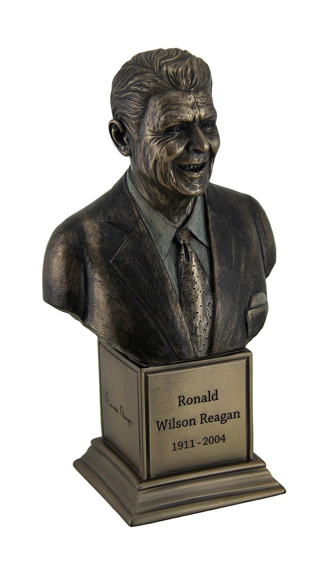 Resin Bust Sculptures Ronald Wilson Reagan Bronze Finish Statue On Inscribed Plinth 4.25 X 7.5 X 2.75 Inches Bronze