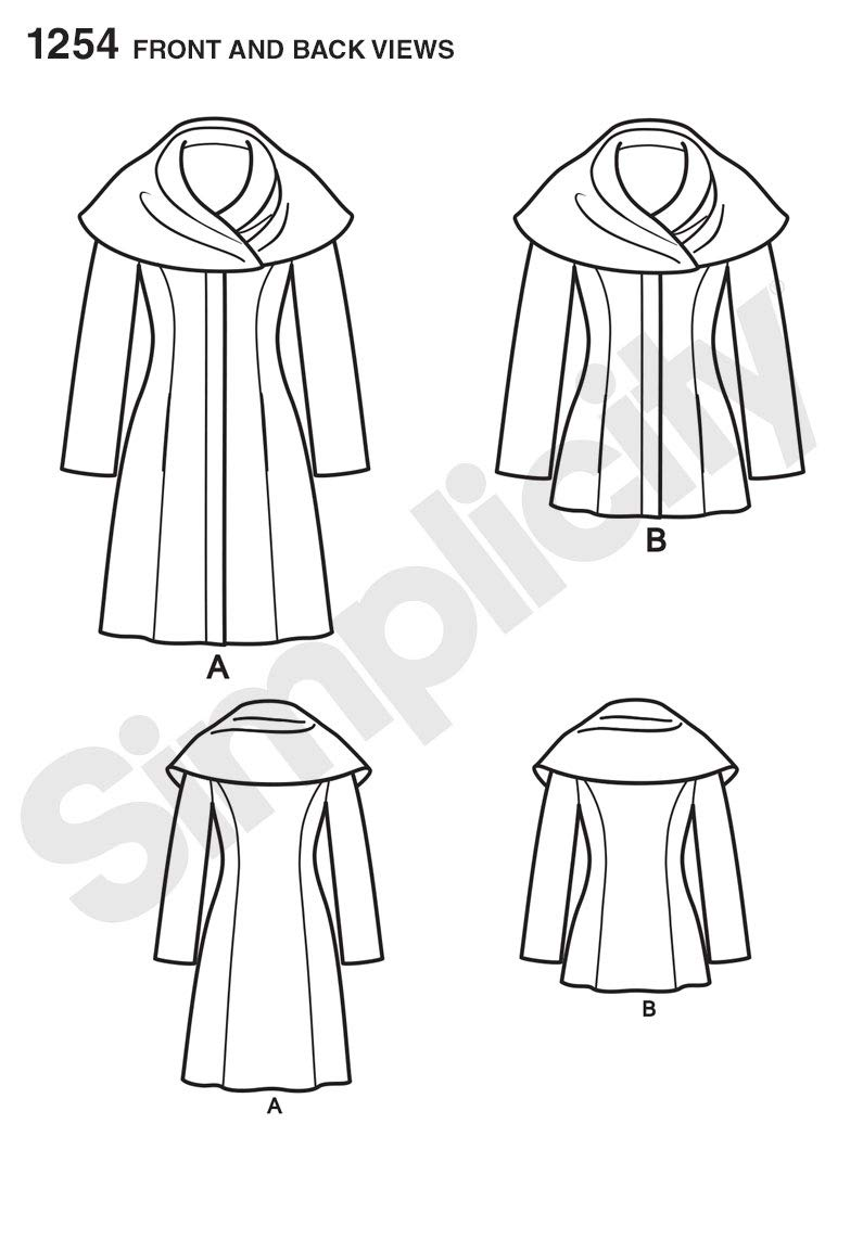 White, 4-6-8-10-12 Paper Size D5 Simplicity Sewing Pattern 1254: Misses Leanne Marshall Easy Lined Coat or Jacket