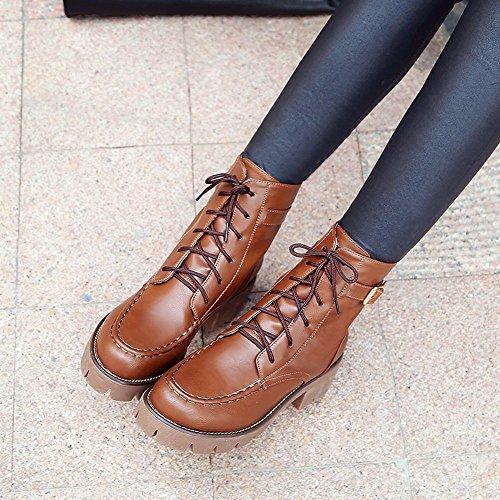 Mee Shoes Damen chunky heels Plateau Kurzstiefel Braun