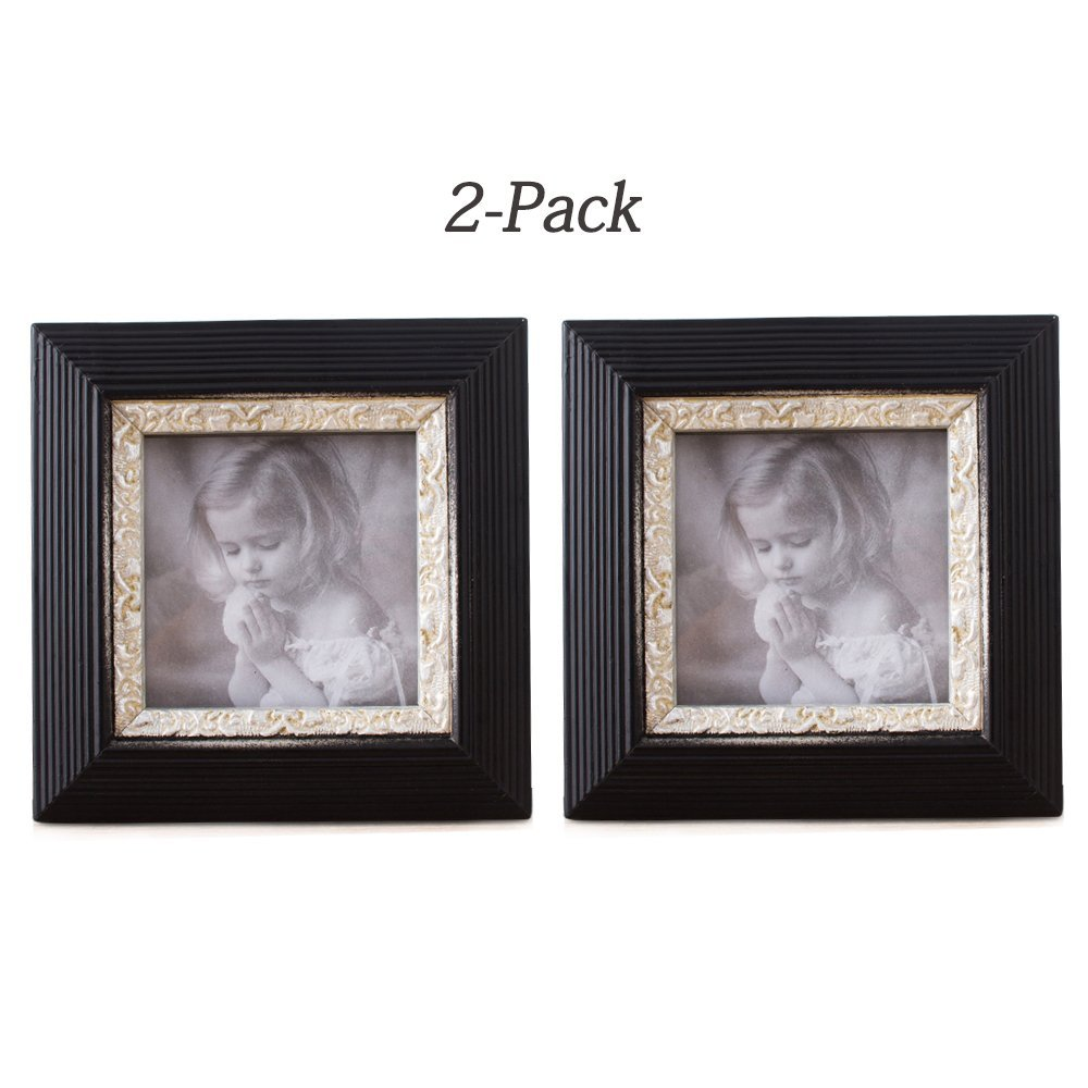 INART Tabletop and Wall Mounting Picture Frames with Embossed Design and Silver Foil Interior Side Made to Display Pictures Sized 5x5 inches - Glass Front, Easel Stand (Pack of 2)