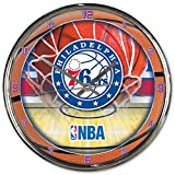 Philadelphia 76ers NBA 12 Inch Round Chrome Plated Wall Clock
