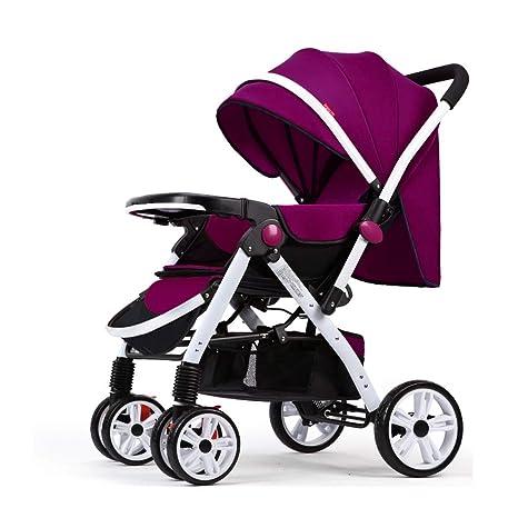Paseante Ligero Cochecito Compacto Calesa Plegable Adecuado por Coche (Color : Purple)