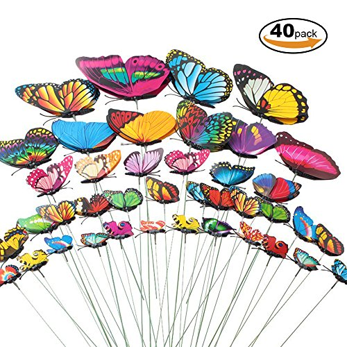 Plant Butterfly Garden (Teenitor Butterfly Garden Stake, 5 Different Size Butterfly Stakes Garden Ornaments & Patio Decor Butterfly Party Supplies Garden Stakes Decorative For Outdoor Yard Christmas Decorations(Set of 40))