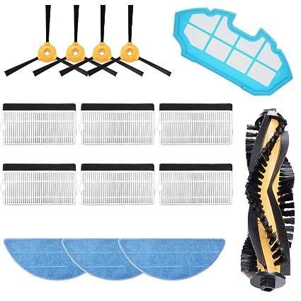 MIRTUX Kit de repuestos Conga Excellence y 990 Excellence. Pack de Accesorios de Recambio para Robots aspiradora Conga con Cepillo Lateral, Rodillo ...