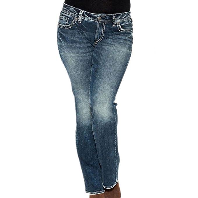 ec06ced10ef juqilu Mujer Pantalones Jeans Cintura Baja Slim Elástico Flacos Ajustados  Leggings Push up Mezclilla Pantalones 3XL  Amazon.es  Ropa y accesorios