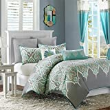 Madison Park Nisha Duvet Cover King/Cal King Size - Grey Teal, Paisley Duvet Cover Set – 5 Piece – 100% Cotton Light Weight Bed Comforter Covers