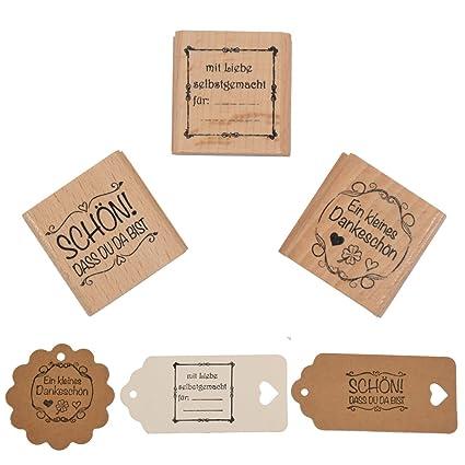 3 x 5 cm Textstempel Stempel mit Schrift Butterer Stempel Rayher Hobby 28422000 Holzstempel: Sch/ön dass du da bist