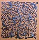 Large Metal Tree of Life with Swallows Traditional Haitian Folk Art 34'' x 34''